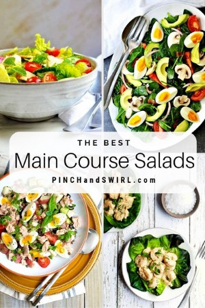 grid of main course salad images