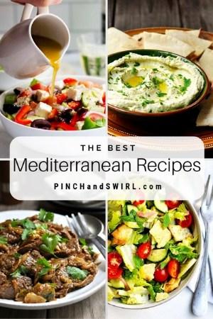 grid of Mediterranean food images