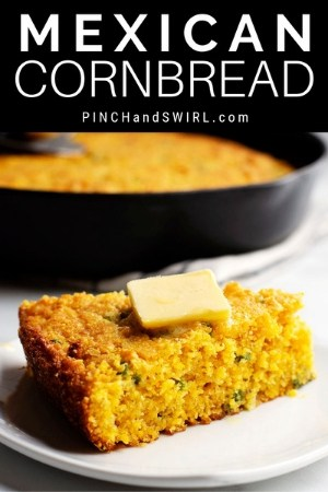 mexican cornbread served with a pat of butter