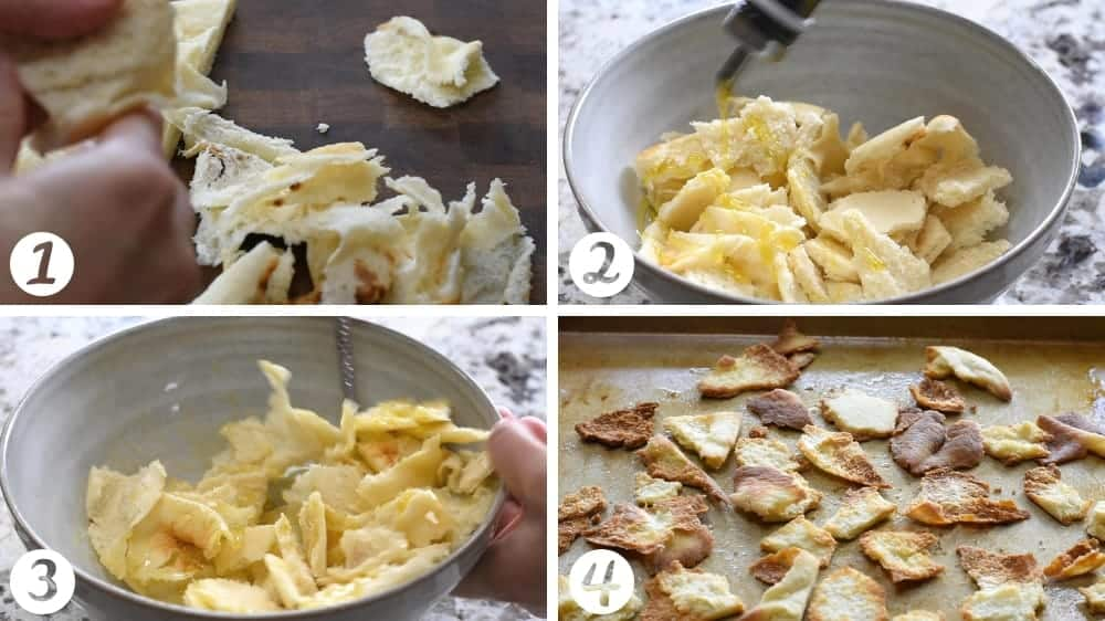 making pita croutons step by step