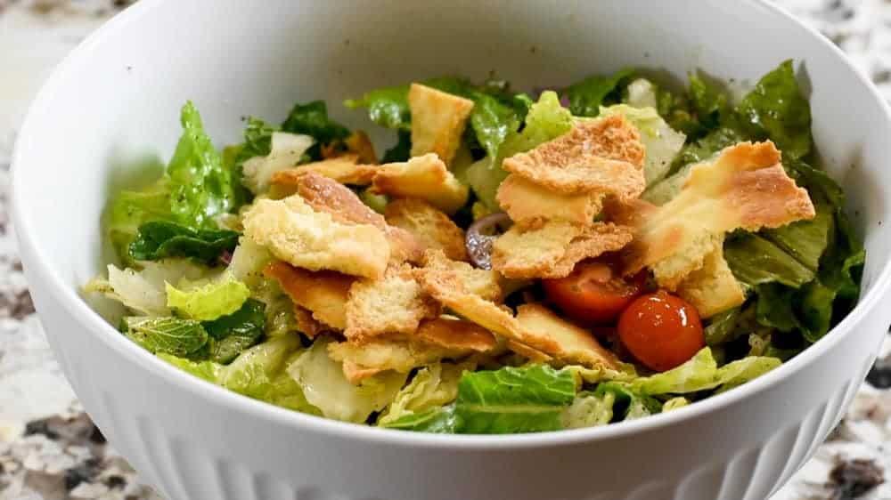 fattoush salad ready to serve