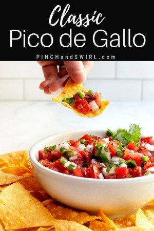 pico de gallo on a tortilla chip and in a white bowl