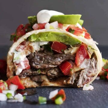 Carne Asada Burrito cut in half