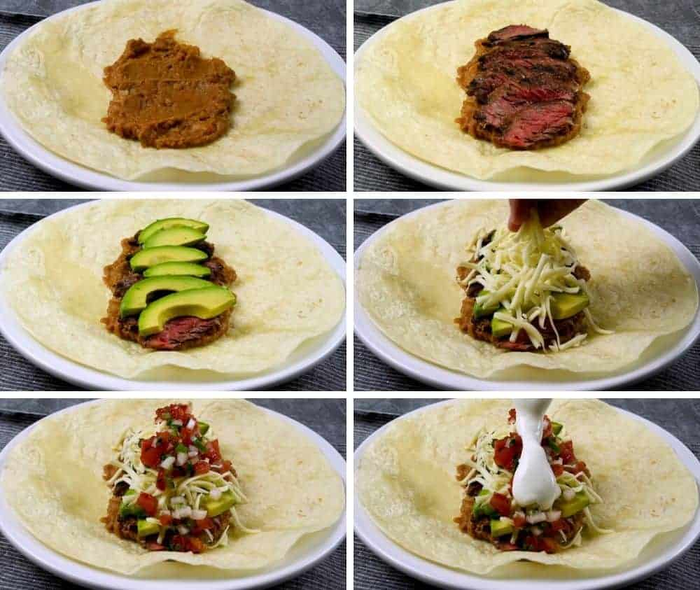 Making a carne asada burrito step by step