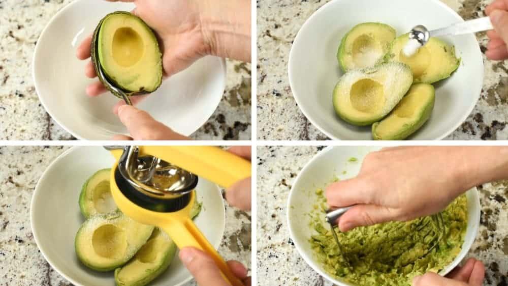 mashing avocados with salt