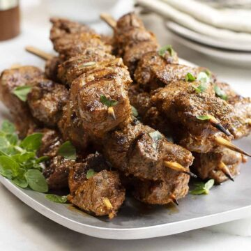 lamb kabobs served on a stainless platter