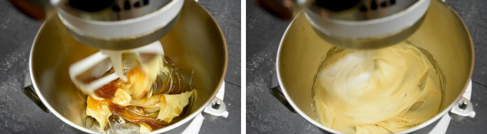 creaming butter and honey in a stand mixer