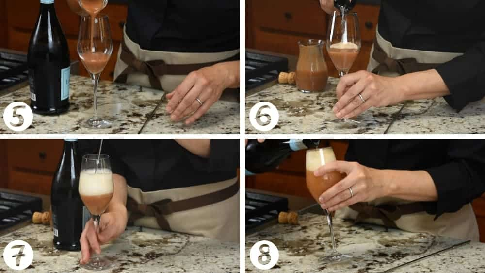 steps for making a peach bellini