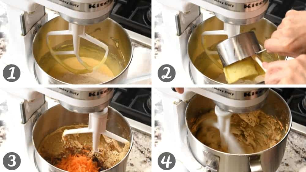 mixing dry ingredients and mashed sweet potato to batter