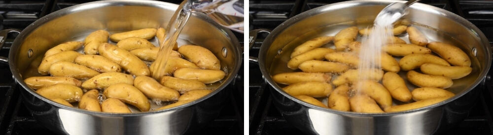 pouring water and sprinkling salt over fingerling potatoes in a wide shallow pan
