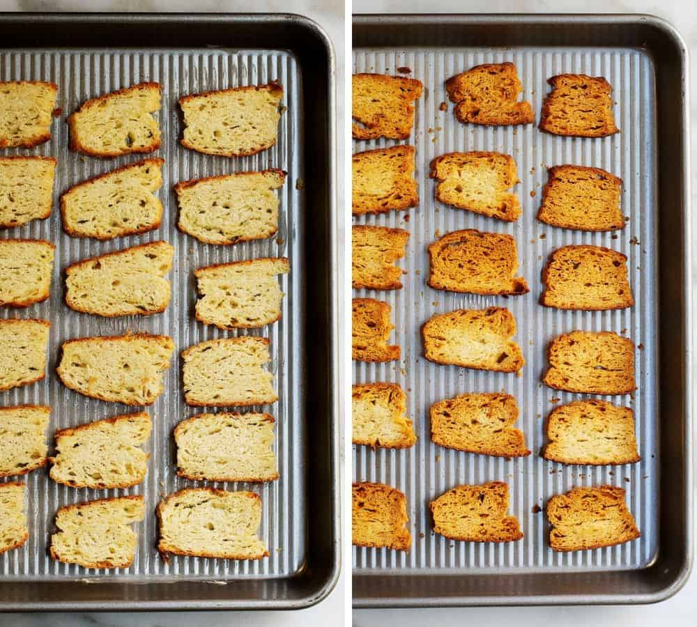 biscuit crackers before and after baking