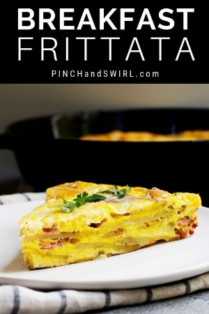 a wedge of breakfast frittata served on a white plate