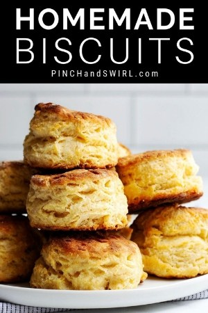 a stack of homemade biscuits