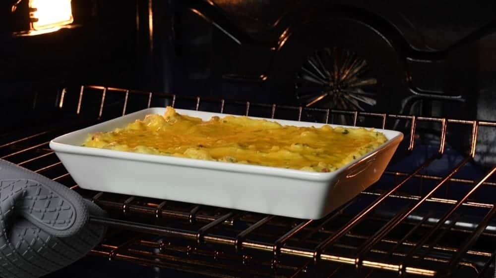 twice baked mashed potatoes ready to serve.