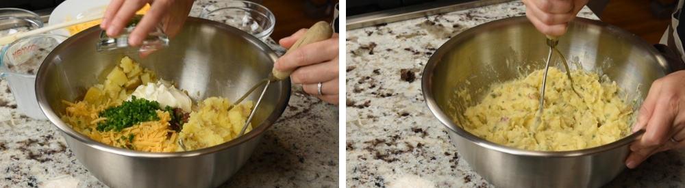 mashing twice baked mashed potatoes