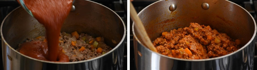 adding tomato sauce to meat and vegetable mixture