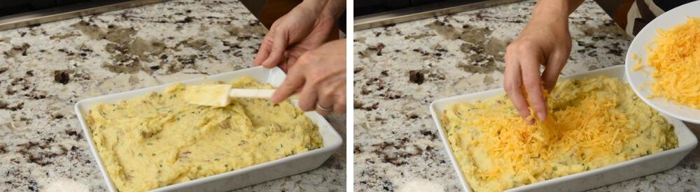 twice baked mashed potatoes ready to bake