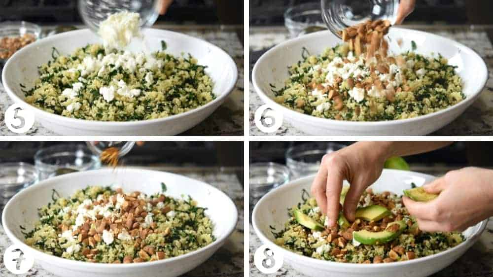 topping kale and quinoa salad with feta almonds and avocado