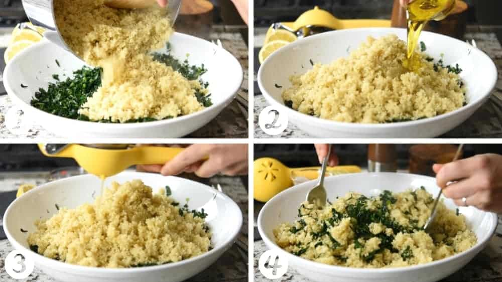 tossing quinoa and kale with olive oil and lemon juice
