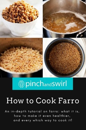 multiple photos showing how to cook farro