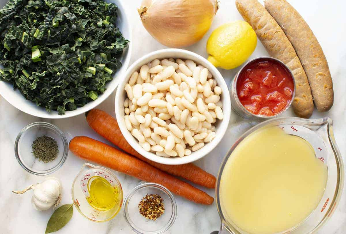 ingredients for white bean kale and sausage soup