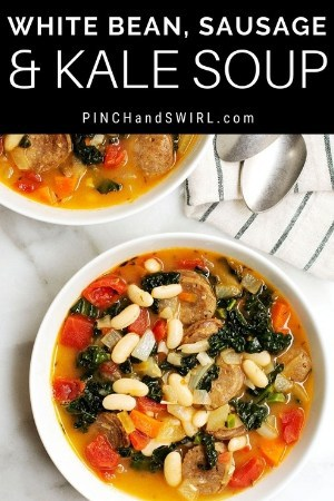 White Bean, Sausage and Kale Soup served in a white bowl