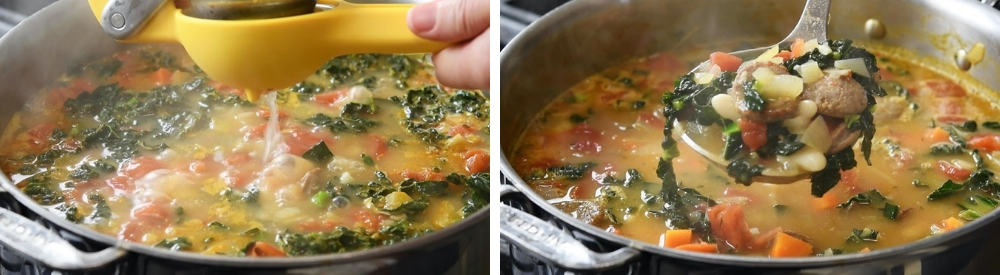 adding lemon juice and a ladle of White Bean Sausage and Kale Soup
