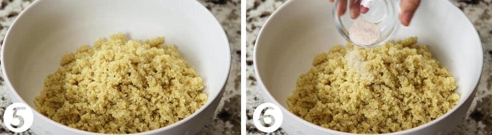adding salt to cooked quinoa