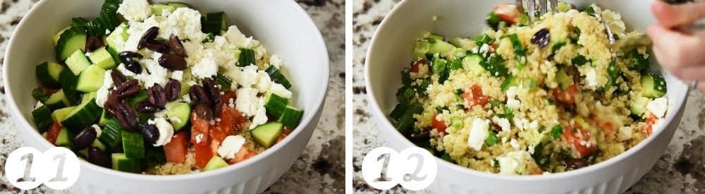 assembling quinoa tabbouleh salad