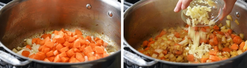 cooking onion carrot and garlic
