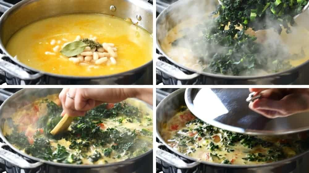 making White Bean Sausage and Kale Soup