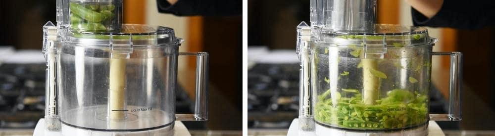 slicing sugar snap peas with a food processor