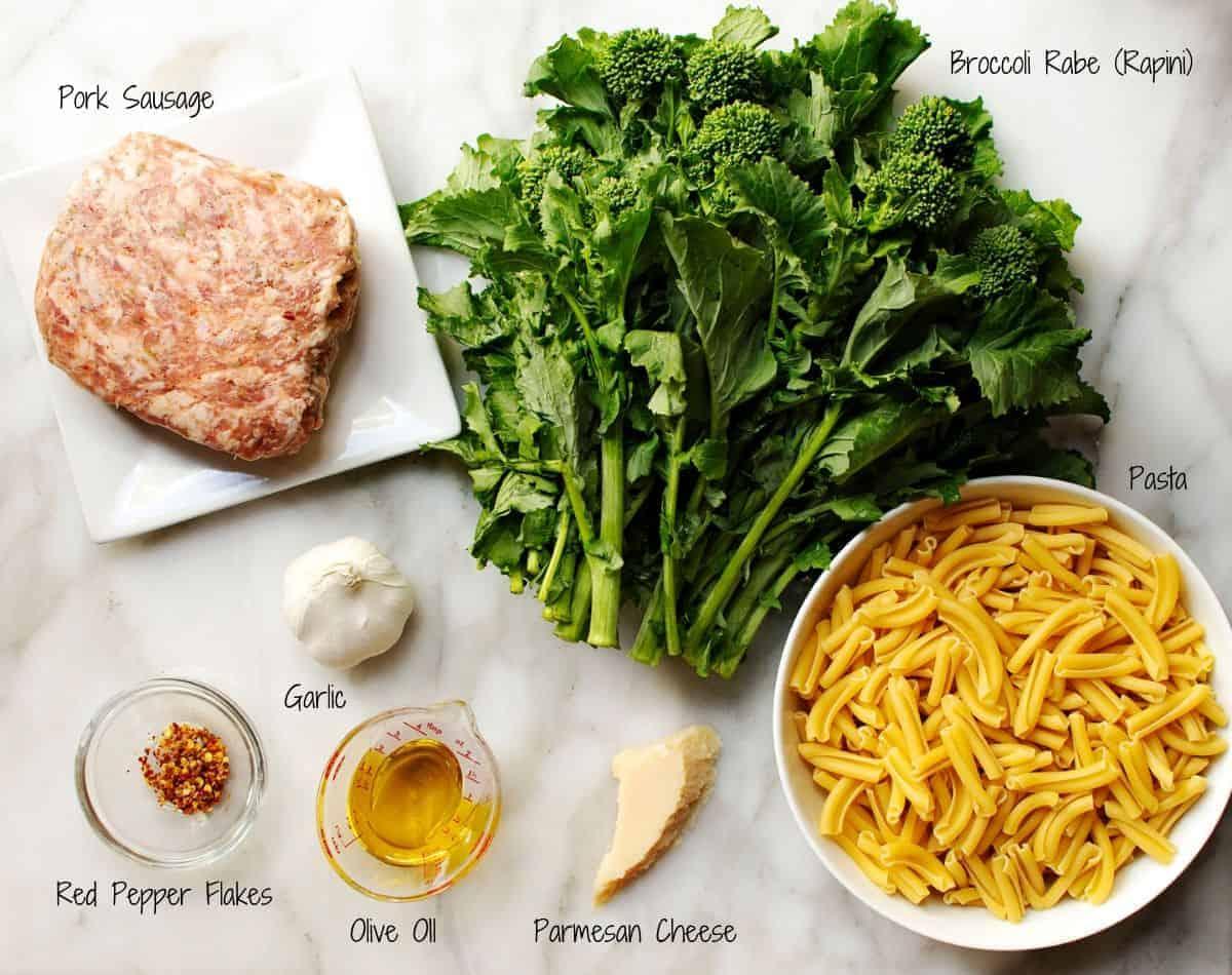 Broccoli Rabe and Sausage Pasta ingredients flat lay