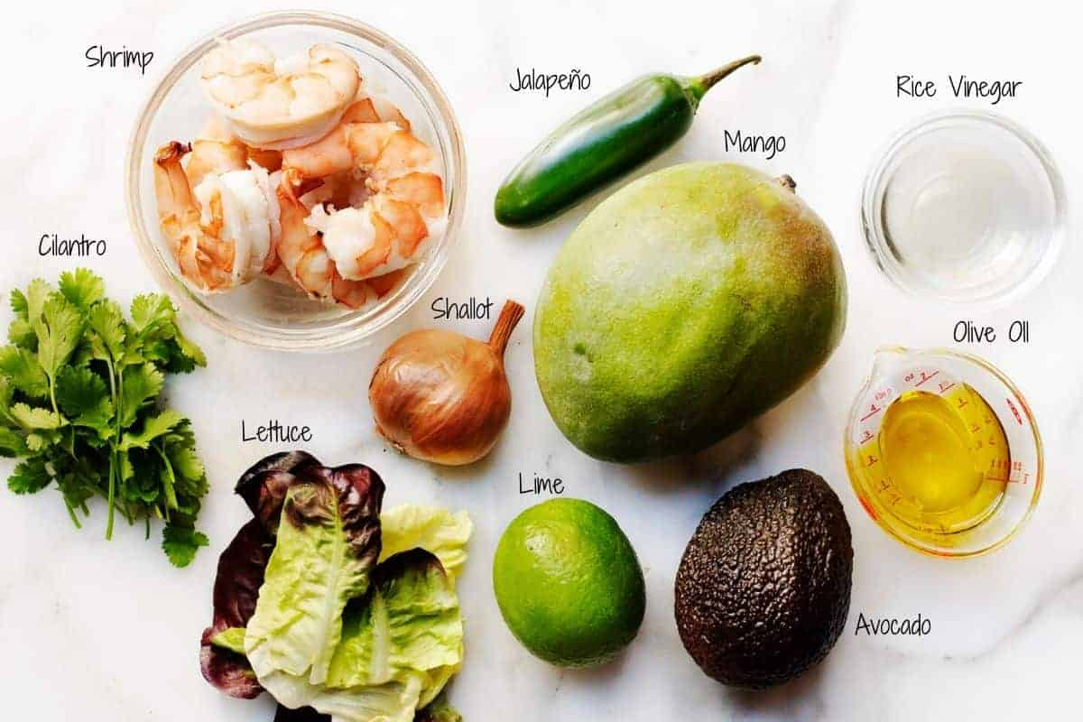 Shrimp and Avocado Salad ingredients pictured and labeled