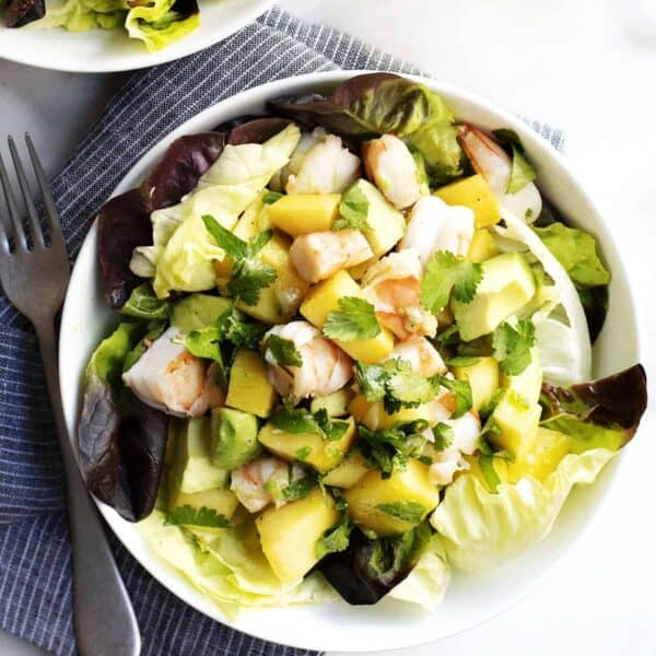 Shrimp and Avocado Salad served in a white bowl