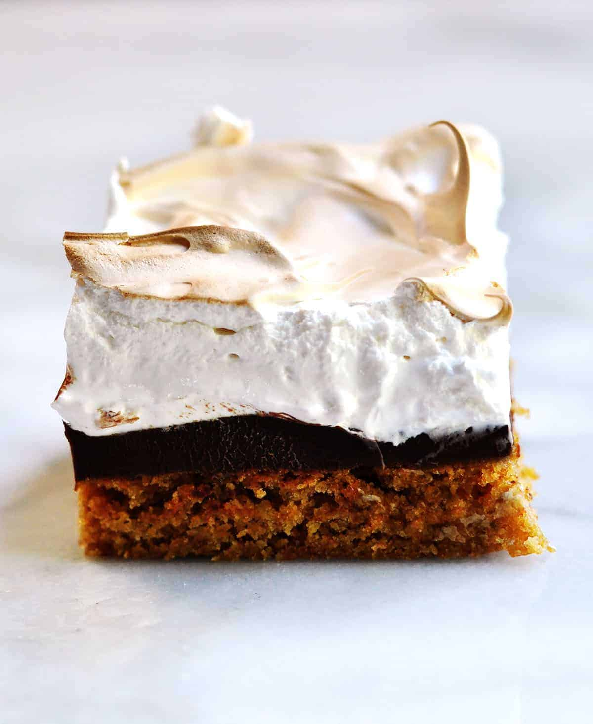 smores brownie on a marble platter