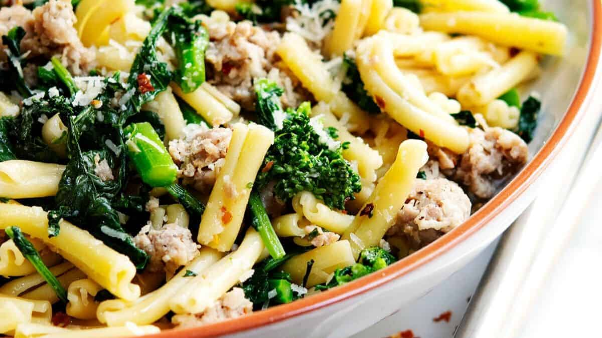 broccoli rabe and sausage pasta ready to serve