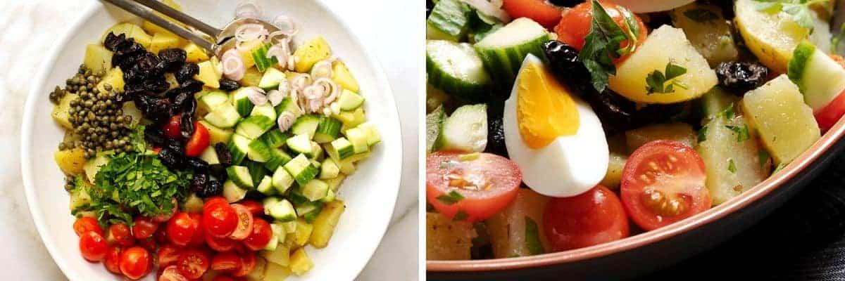 greek potato salad ready to serve