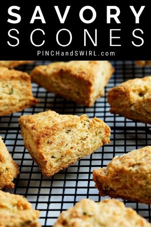 baked savory scones cooling on a baking rack
