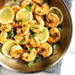 Shrimp Piccata in a stainless steel skillet