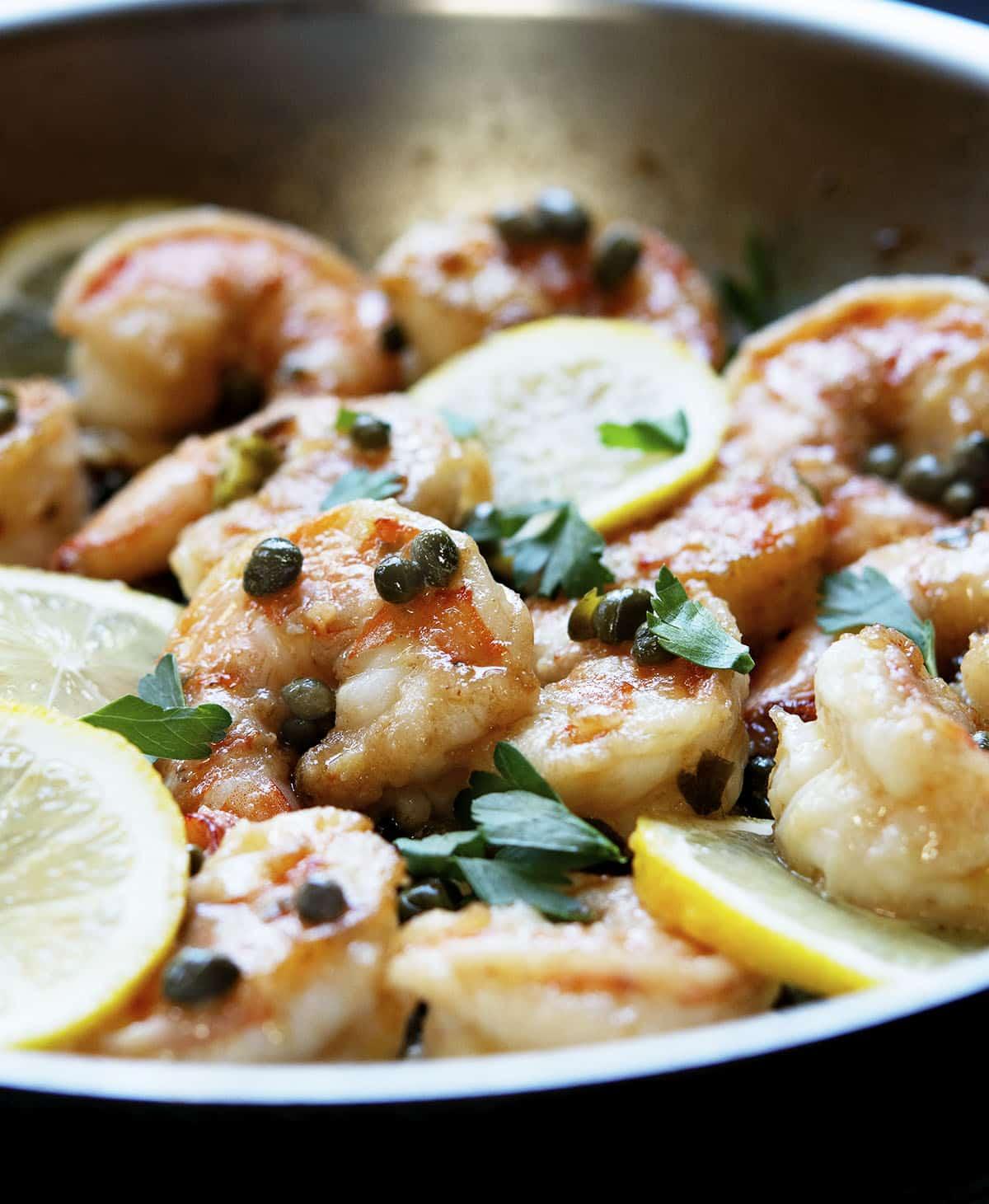 close up of shrimp piccata