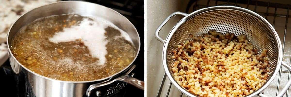 boiled and drained fregola sarda