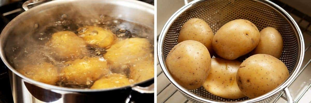boiling and draining potatoes