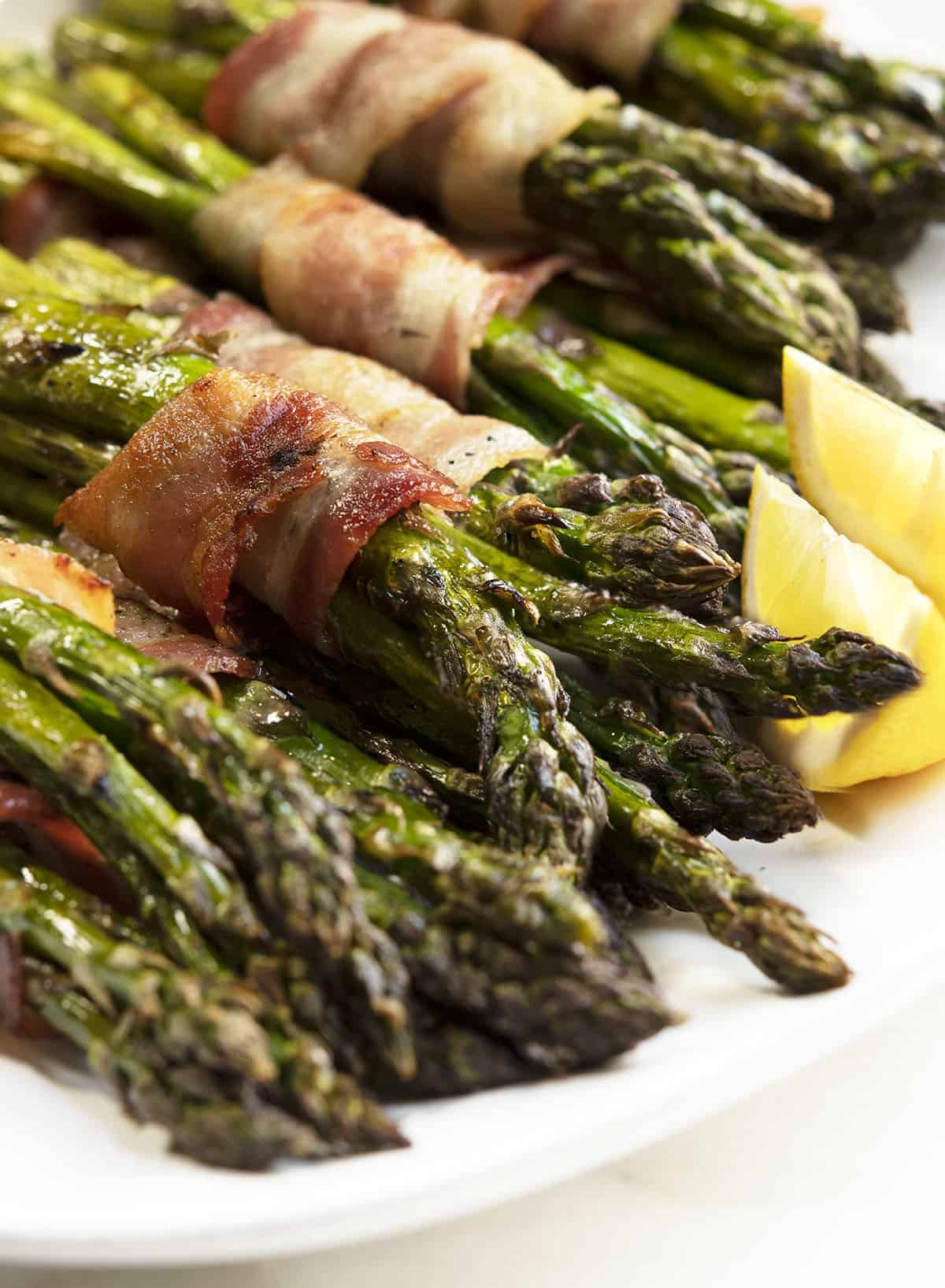 Grilled Bacon Wrapped Asparagus close up shot