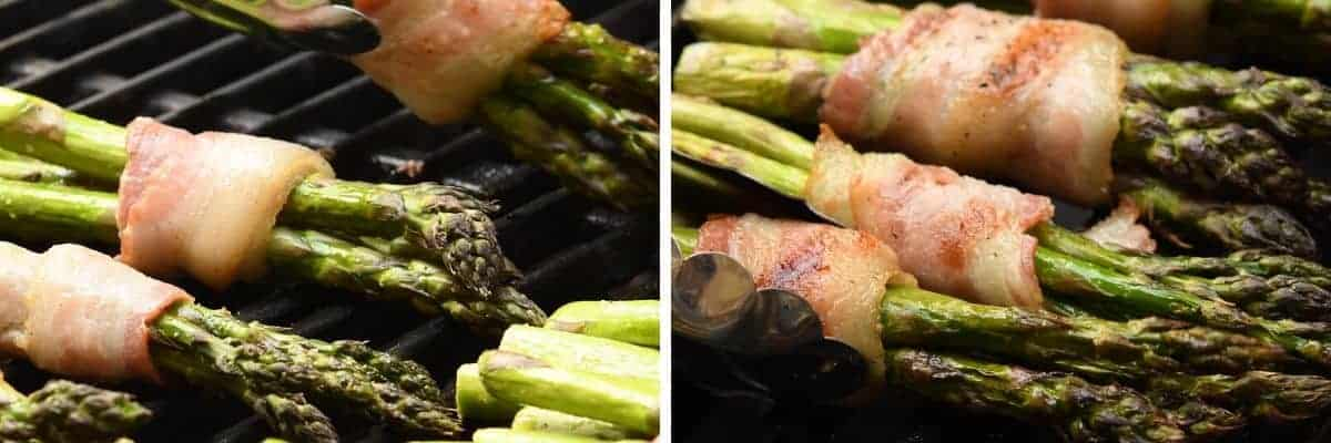 grilling asparagus bundles wrapped in bacon