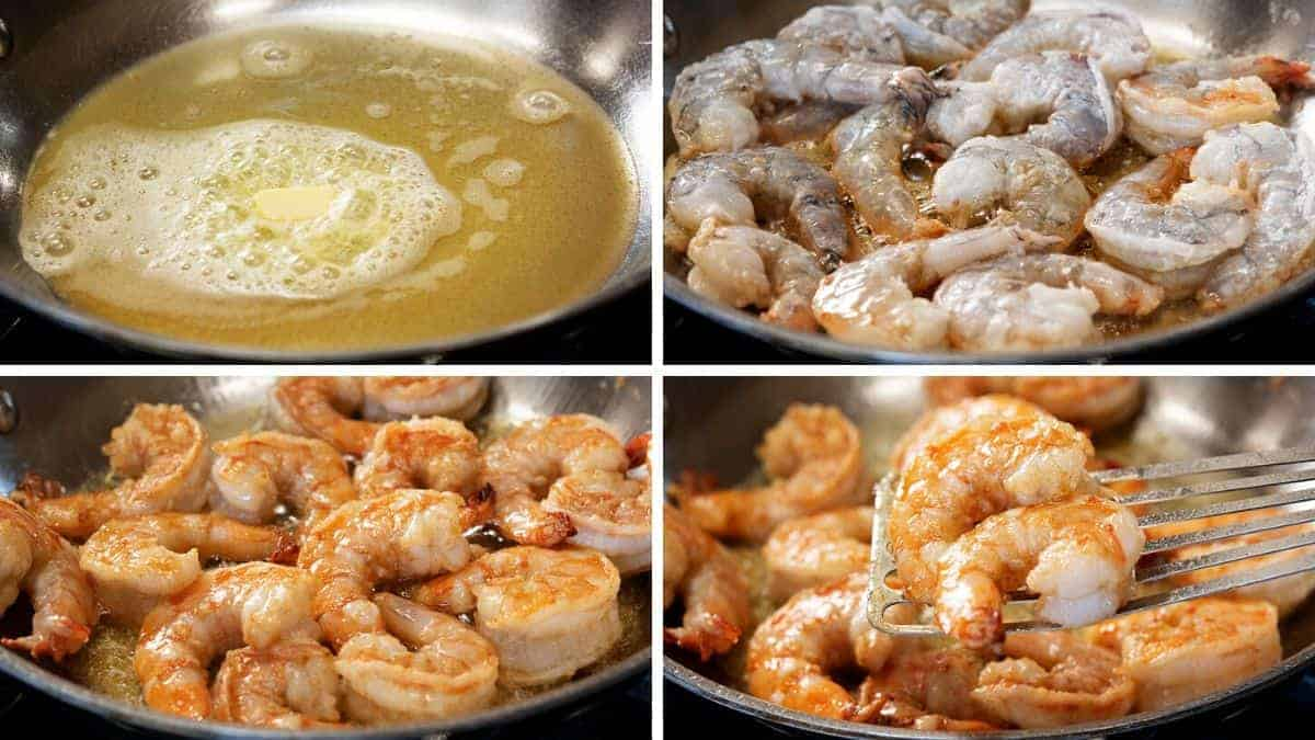 pan frying shrimp in butter and olive oil