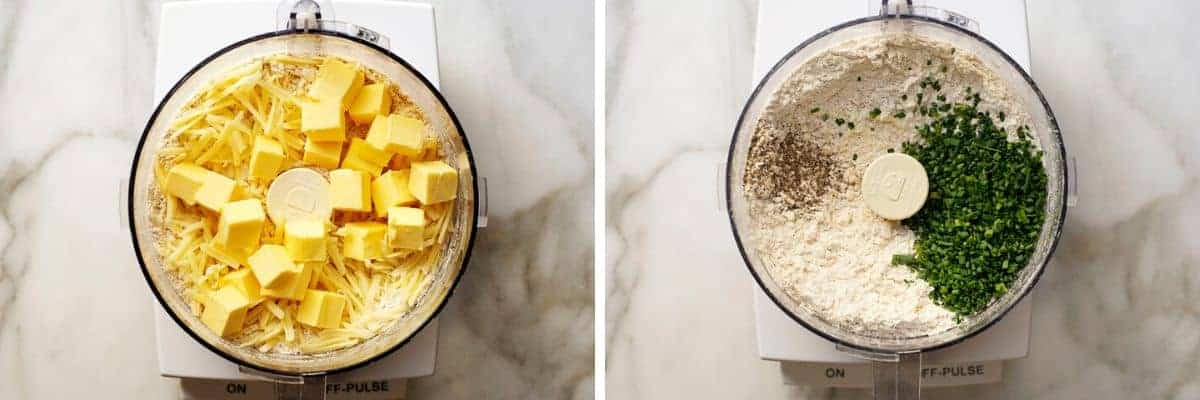 savory scone ingredients in food processor