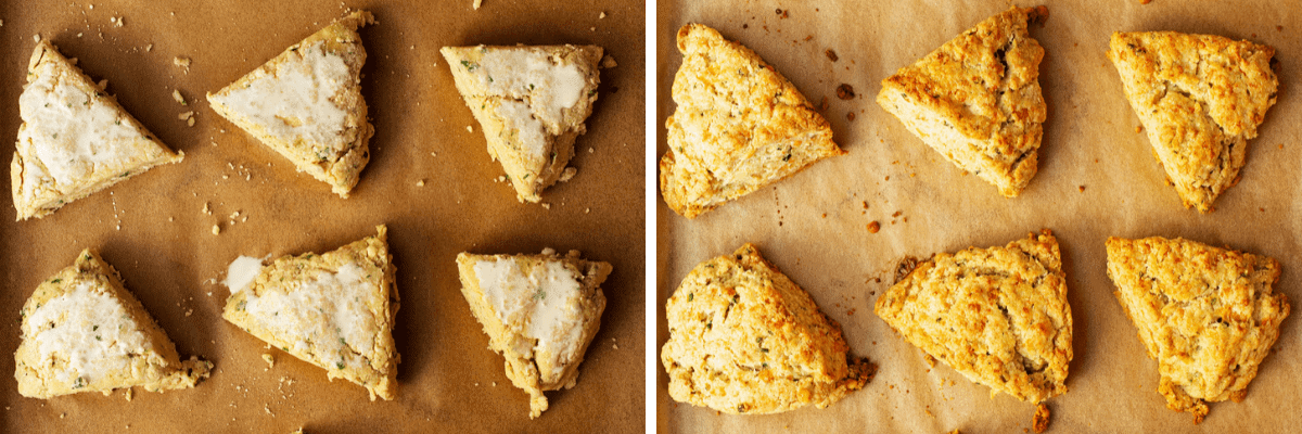 savory scones before and after baking