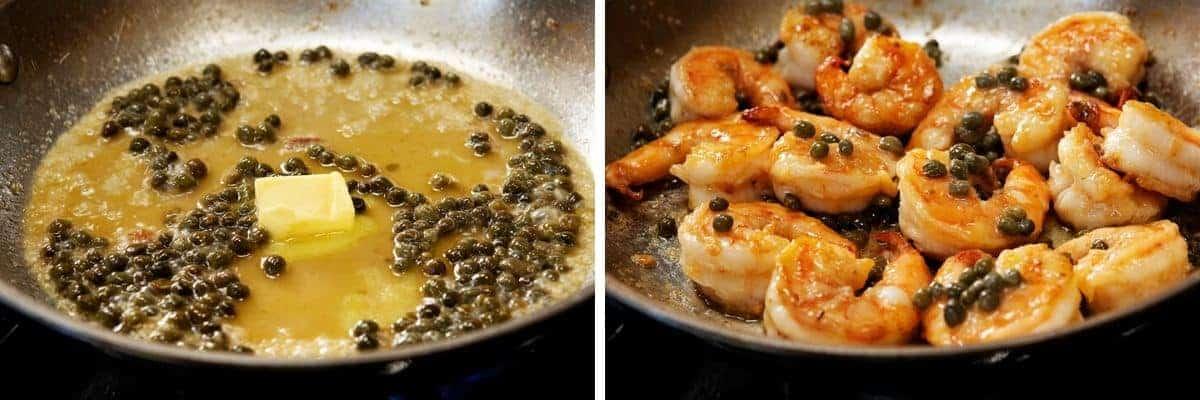 shrimp piccata in a skillet