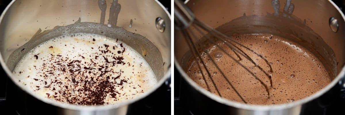 whisking chocolate into hot cream mixture